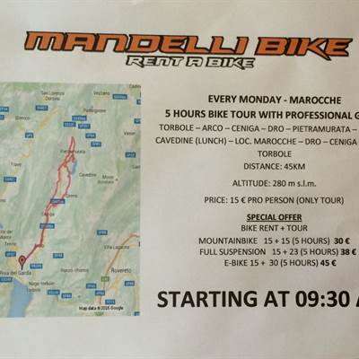 Bike tour MONDAY- Marocche - book now - Mandelli Bike Fahrradverleih Gardasee